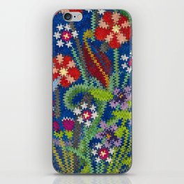 Starry Floral Felted Wool, Blue iPhone Skin