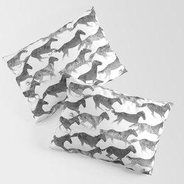 Watercolor Horses Pattern - Black Ink Pillow Sham