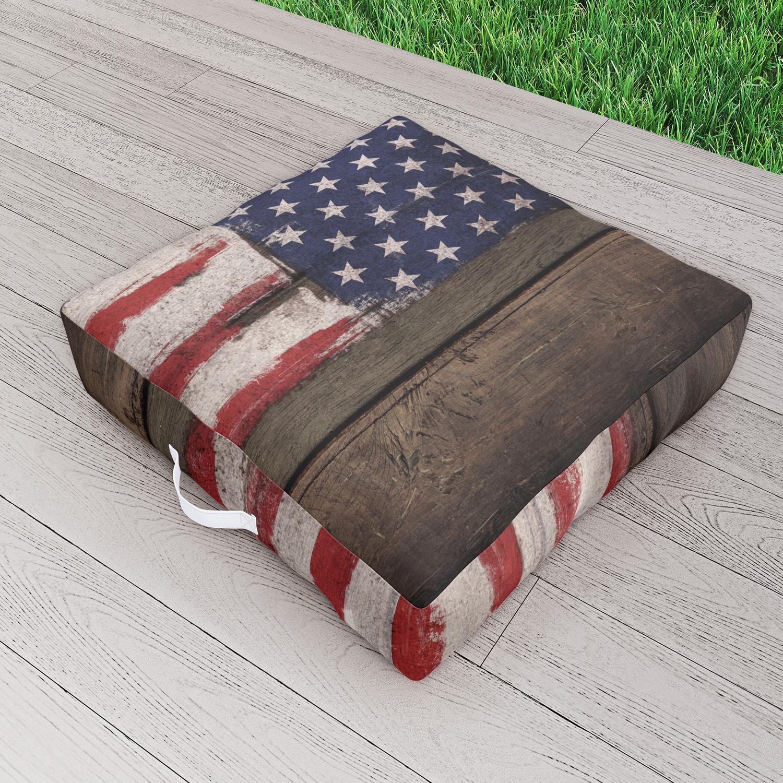 Wood American Flag Outdoor Floor Cushion By Mydream