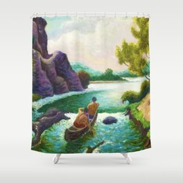 Classical Masterpiece 'Shooting the Rapids' by Thomas Hart Benton Shower Curtain
