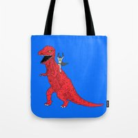dinosaur Tote Bags featuring Dinosaur B Forever by Isaboa