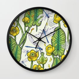 yellow water lilies and dragonflies Wall Clock