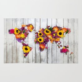 French Floral Bouquet on Rustic Upcycled Palette Wood World Map Art Rug