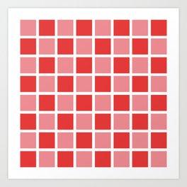 Modern Checkers (red tiles) Art Print