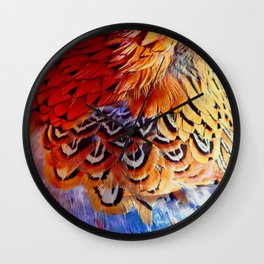 Pheasant Feathers Wall Clock
