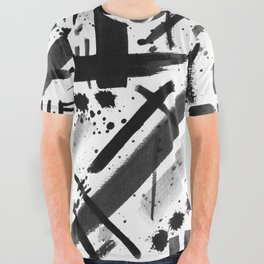 Abstract Black and White Watercolor Brush Lines Bold Modern Painting Design All Over Graphic Tee