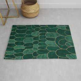 Stratosphere Emerald // Abstract Green Flowing Gradient Gold Foil Cloud Lining Water Color Decor Rug