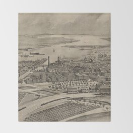 Vintage Pictorial Map of Providence RI (1896) Throw Blanket