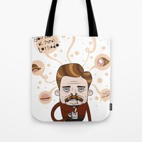 ron swanson Tote Bags featuring Ron Swanson by Cody Bond