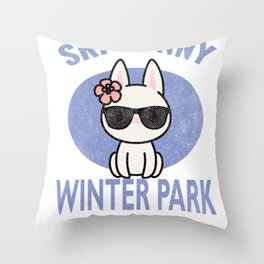 Winter Park Colorado Ski Bunny Distressed Print for Skiing Vacation Throw Pillow
