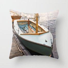 Wooden Boat Sailboat Sailing Sailor Nautical Lake Seattle Harbor Marina Recreation Outdoors Sunset Throw Pillow