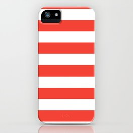 Even Horizontal Stripes, Red and White, L iPhone Case
