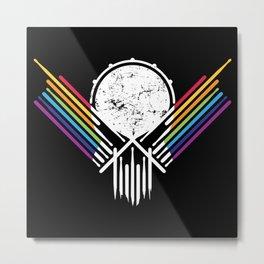 Artsy Drummer Skull Metal Print