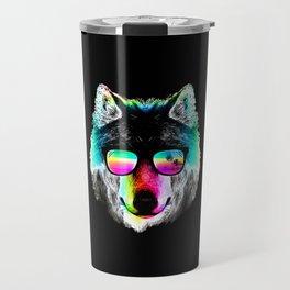 Wolf Rainbow Sunglasses Travel Mug