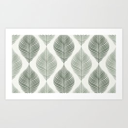 FILIGRAN LEAVES PATTERN IN NATURAL GREEN Art Print