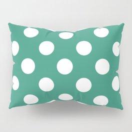 Illuminating emerald - green - White Polka Dots - Pois Pattern Pillow Sham
