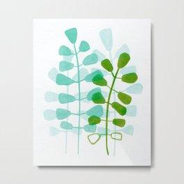 Aqua Green Leaves Watercolor Metal Print