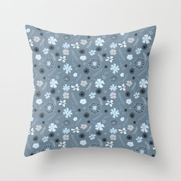 Floral in blue grey Throw Pillow
