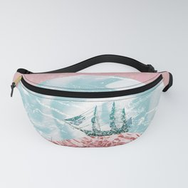 The old marble ship - coral & turquoise colors Fanny Pack
