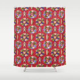 Khokhloma Forest Animals Shower Curtain