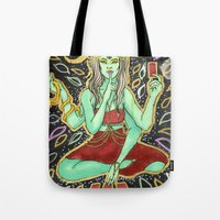 tarot Tote Bags featuring Tarot Reader by VanessaMacias