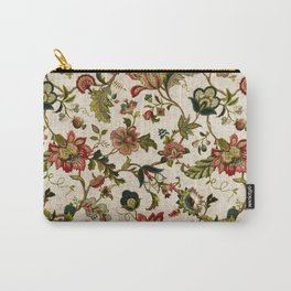 Red Green Jacobean Floral Embroidery Pattern Carry-All Pouch