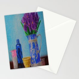 Iris and Blue Willow Pitcher Stationery Cards