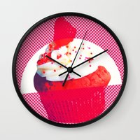 cupcake Wall Clocks featuring Cupcake by Mr and Mrs Quirynen