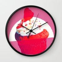 cupcake Wall Clocks featuring Cupcake by Mr & Mrs Quirynen