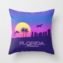 Miami Florida Synthwave Skyline Landscape Throw Pillow