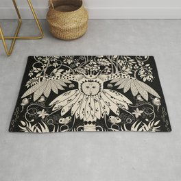 Owl king in black & white Rug
