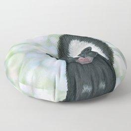 striped skunk woodland animal portrait Floor Pillow