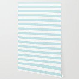 Duck Egg Pale Aqua Blue and White Wide Horizontal Cabana Tent Stripe Wallpaper