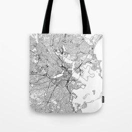 Boston White Map Tote Bag