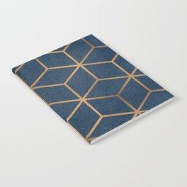 Dark Blue and Gold - Geometric Textured Cube Design Notebook