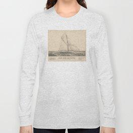 Vintage Illustration of the Sloop Yacht Mayflower Long Sleeve T-shirt