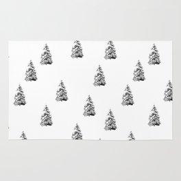 Newspaper Print Pine Trees Rug