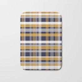 Modern Retro Plaid in Mustard Yellow, White, Navy Blue, and Grey Bath Mat