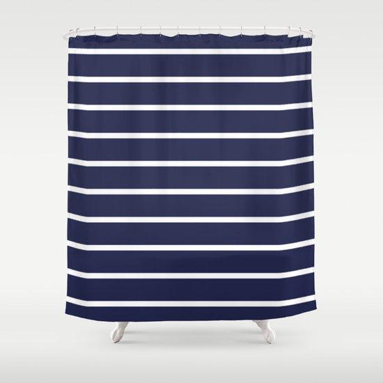 Navy White Stripe Pattern Shower Curtain By RexLambo