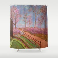 oz Shower Curtains featuring The Land of Oz by Mary Frankenfield