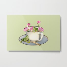 Cup with Lotos Flowers and two Frogs Metal Print