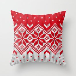 Winter knitted pattern 10 Throw Pillow