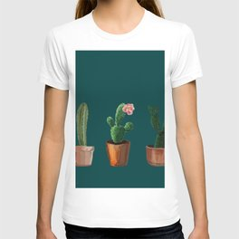 Three Cacti On Green Background T-shirt