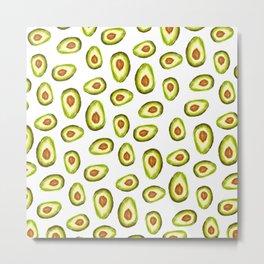 Modern hand painted avocado green brown watercolor pattern Metal Print
