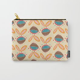 Mid Century Beige Floral Pattern Carry-All Pouch