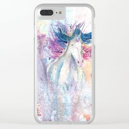 Unicorn Watercolor Art Clear iPhone Case