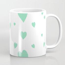 Hand-Drawn Hearts (Mint & White Pattern) Coffee Mug
