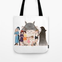 hayao miyazaki Tote Bags featuring Hayao Miyazaki's Family by Naineuh