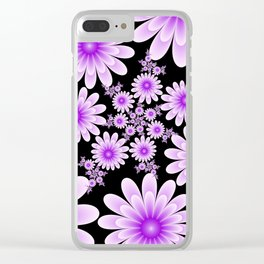 Pink Flowers on Black Background Clear iPhone Case