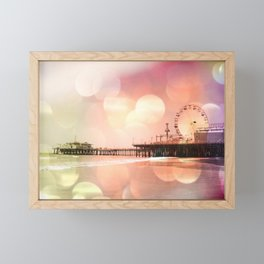 Sparkling pink Santa Monica Pier Framed Mini Art Print